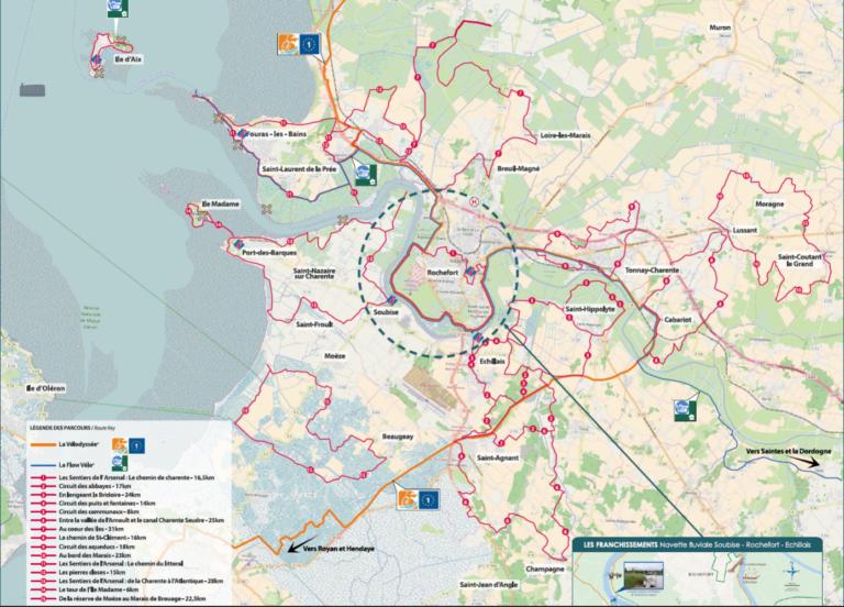 Plan des pistes cyclables à Rochefort et au alentours